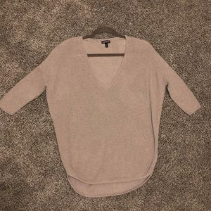 Express cotton knit sweater in mauve / beige